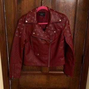 Burgundy Red Faux Leather Jacket